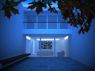 a modern house at night