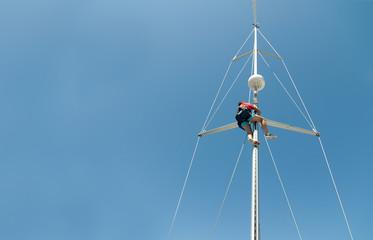 man in a mast