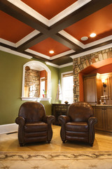 Brown Leather Chairs in Upscale Living Room