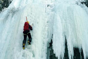Ice climbing in Kamenetz-Podolsk, Ukraine.