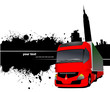 Grunge blot banner with town and truck images. Vector illustrati
