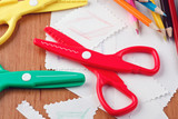 colourful scissors and crayons