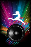 Background for Disco flyers with black Speaker and dancer
