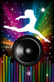 Background for Disco flyers with black Speakers and dancer