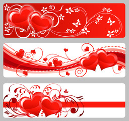 Three Valentine's day banners with hearts and flowers