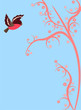 Cute bird flying on pink branch