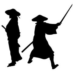 Two Samurai silhouettes