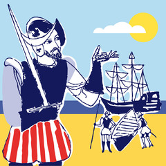 Discovery america Spanish soldier, 1492, vector illustration