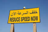 Reduce Speed Now sign in english and arabic language poster