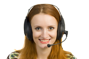 Beautiful smiling business woman with headset