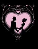 siluetas recortadas sobre un corazon rosa