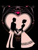 pareja en silueta sobre un corazon rosa en fondo negro