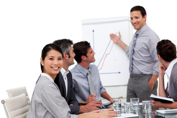 Positive manager giving a presentation