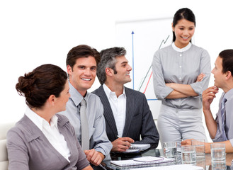 Portrait of successful business team during a presentation