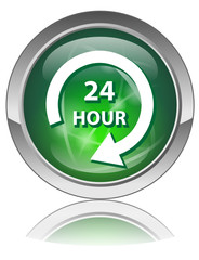 24 HOUR Button (Service 7 Days Opening Hours Shop Store Office)