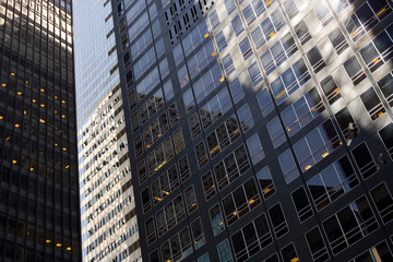 Detail of facades of office buildings at New York City