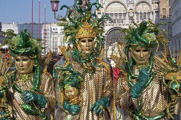 Dressed up girls on the Markus's square for the Venice Carnival