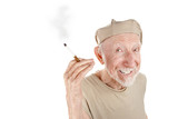Ragged senior man with cigarette poster