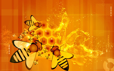 Illustration of two honeybees in honeycomb