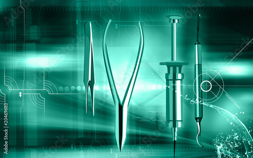 Illustration of a surgical instruments in blue background