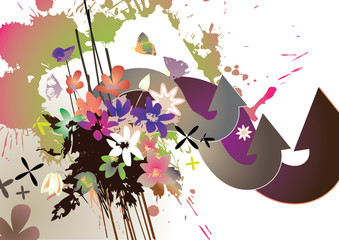 Vector background with arrows and splatter