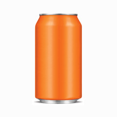 Orange Aluminum Drink Can With Clipping Path
