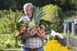 Man holding vegetables in garden