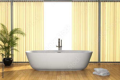 modern bathroom with brown floor