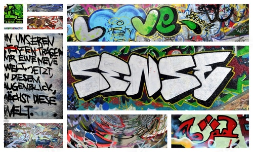 Keuken foto achterwand Graffiti collage love und sense