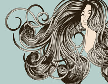 Woman's face with detailed flowing hair