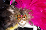 Venetian Gold Mask Pink Black Feathers Venice Italy