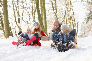 Family Sledging Through Snowy Woodland