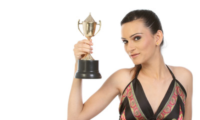 Young woman with gold trophy