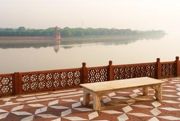 Overview of Taj Mahal garden, over river Jamuna