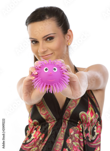 woman holding pink soft