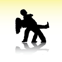 boy and girl silhouettes dancing tango
