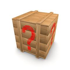 Holzkiste mit Fragezeichen