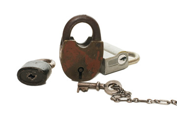 lock and key on white background