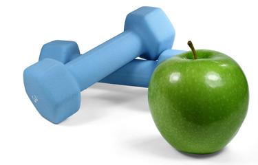 Apfel mit Hanteln