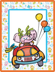 Card for kid, cute elephant driving car