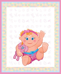 Card of cute baby girl.
