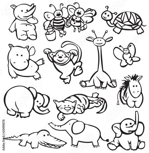 Силуэт животных для раскраски