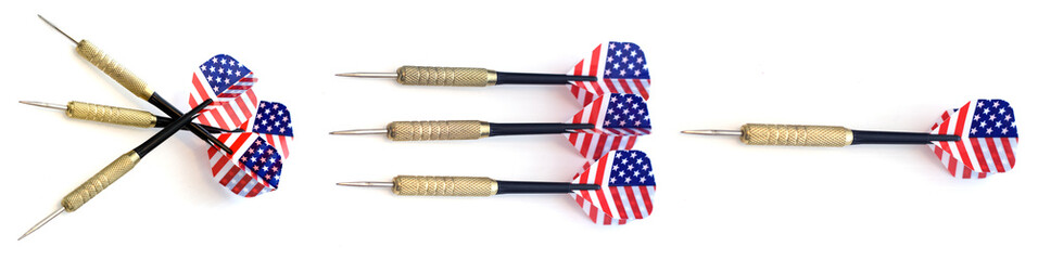 A set of darts on a white background