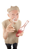 Ragged senior man with cigarette and liquor poster