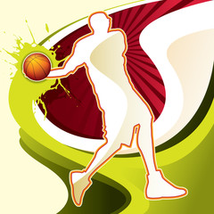 Abstract background with basketball player