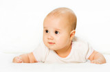 playing baby is on abdomen and white background poster