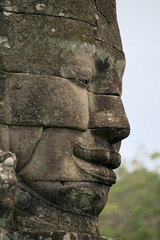 right facing face made of stones at Bayon temple, Cambodia