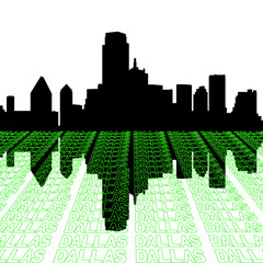 Dallas skyline with perspective text outline foreground