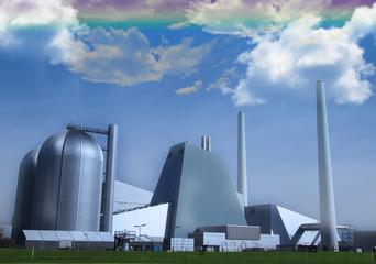 Fantasy powerplant with rainbow