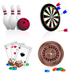 Bowling, darts, cards, dice, roulette. Vector Icons.